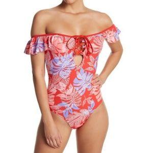 Red Carter off shoulder swimsuit size medium
